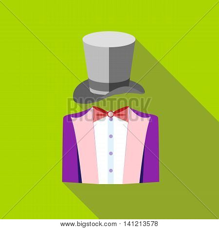 Tuxedo and top hat icon in flat style on a green background