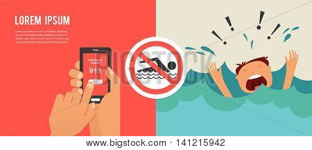 drowning man screaming for help. hands press emergency number 911 on a mobile phone. illustration
