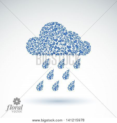 Weather forecast vector icon meteorology flower-patterned symbol.