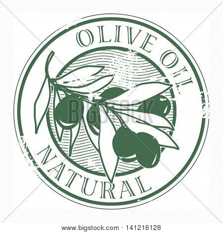 Grunge rubber stamp with the olives and text Olive Oil, vector illustration