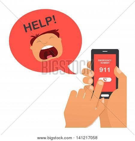 hand press emergency number 911 on a mobile phone with a man screaming for help. vector illustration