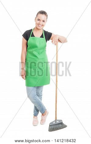 Pretty Female Employee Standing With Broom