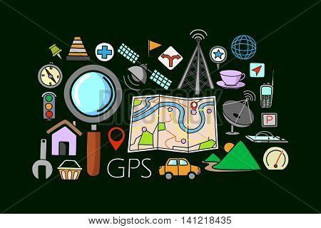 vector illustration of flat line art design of GPS system concept for web design template