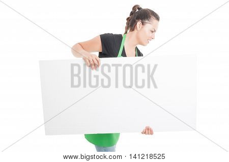 Beautiful Female Employee Carrying Big Blank Poster