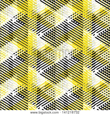 Vector seamless geometric pattern with striped triangles, abstract dynamic shapes in white, black yellow colors. Hand drawn background with  crossing lines in 1980s fashion style. Modern textile print