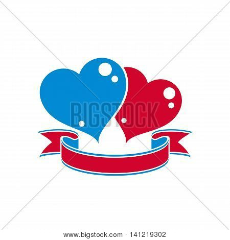 Vcetor conceptual illustration of two loving hearts with decorative ribbon.