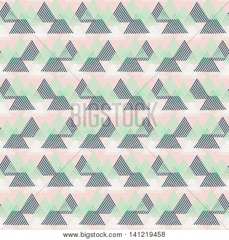 Vector seamless geometric pattern with striped triangles, abstract dynamic shapes in pink, green, white colors. Hand drawn background with lines in 1990s fashion style. Modern techno textile print.
