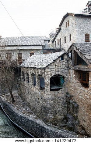 Old stone buildings in Mostar, Bosnia and Herzegovina