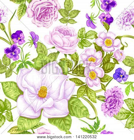 Vintage floral background. Seamless pattern with garden flowers. Magnolia roses pansies peony. Vector. Victorian style.