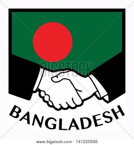 Bangladesh flag and business handshake, vector illustration