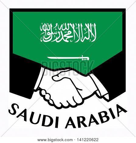 Saudi Arabia flag and business handshake, vector illustration