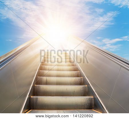 Escalator Going Forward Fading Into The Sky
