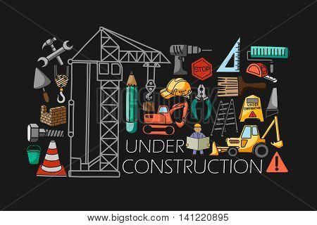 vector illustration of flat line art design of Under construction concept for web design template