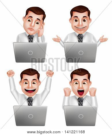 Handsome professional man vector character set with different actions and facial expressions watching in front of laptop isolated in white background. Vector illustration.