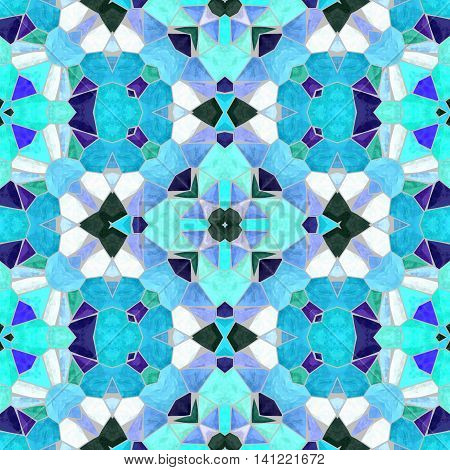mosaic kaleidoscope seamless pattern texture background - blue colored with gray grout