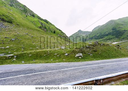 Photo of green capra peak a road and a field full of sheeps grazing in fagaras mountains Romania.