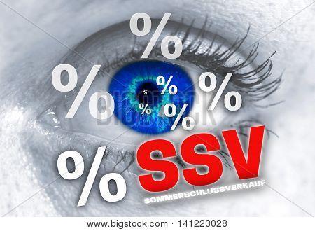 ssv sommerschlussverkauf (in german summer clearance sale) eye looks at viewer concept.