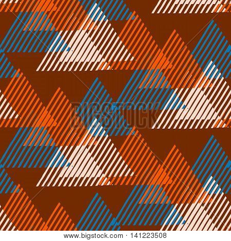 Vector seamless geometric pattern with striped triangles, abstract dynamic shapes in organic, natural brown colors. Hand drawn funky background with lines in 1990s fashion style. Modern textile print