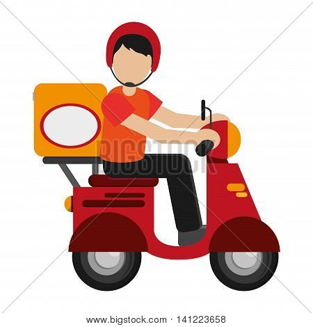 flat design man delivering boxes on scooter icon vector illustration