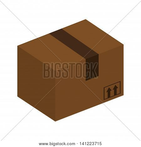 flat design cardboard box icon vector illustration