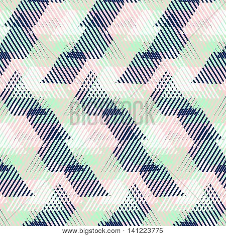 Vector geometric seamless pattern with lines and triangles in pastel mint, pink, blue colors. Striped modern bold print in 1980s style for summer fall fashion. Abstract techno chevron background