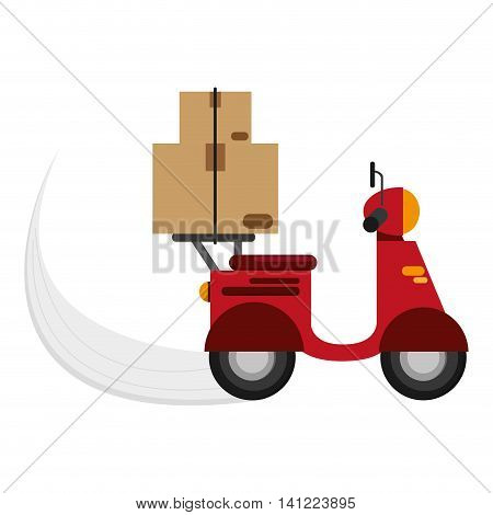 flat design scooter delivering boxes icon vector illustration