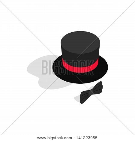 Black top hat and bow tie icon in isometric 3d style on a white background