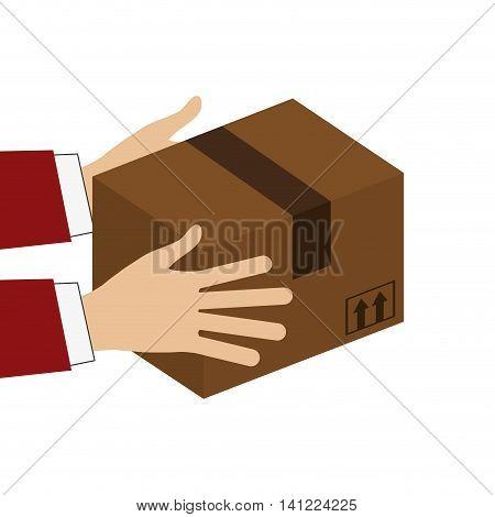 flat design hands holding cardboard box icon vector illustration