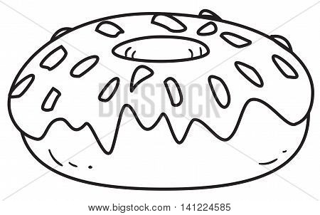 Vector illustration of a glazed donut in black and white outlined doodle style