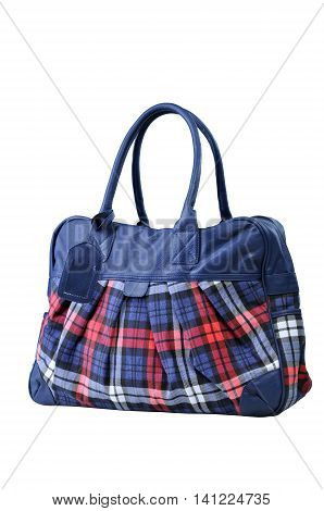 fabric checkered bag isolated on white background
