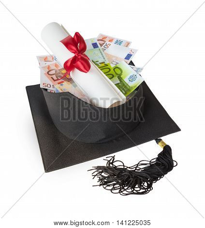 Inverted graduate hat containing various euro banknotes and paper scroll tied with red ribbon isolated on white background