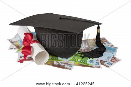 Black graduate hat and paper scroll tied with red ribbon on the various euro banknotes isolated on white background