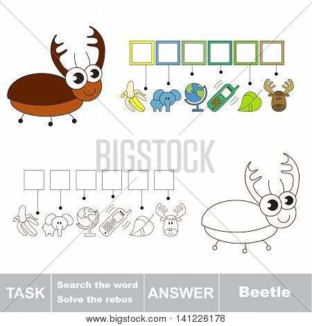 Vector rebus game for children. Easy educational kid game. Simple game level. Find solution and write the hidden word Beetle