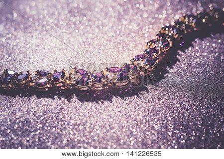Gold Bracelet With Amethyst