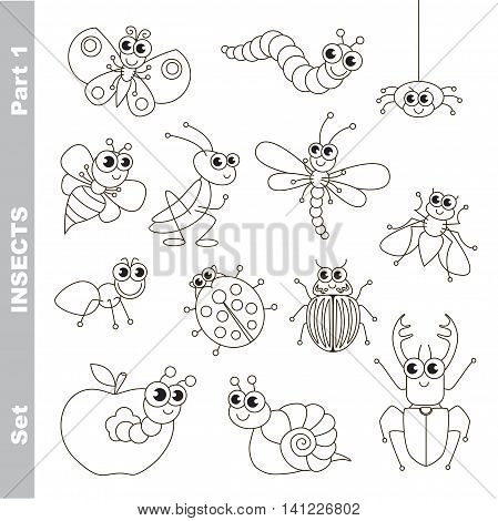 Small insects set in vector, the colorless version.