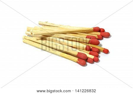Close up of group red match stick isolated on a white background