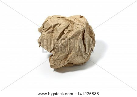 Crumbled used paper ball isolated over the white background