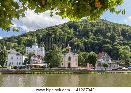 View of the spa town Bad Ems at the river Lahn in Germany with the Russion Orthodox Church and Schloss Balmoral in view