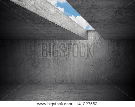 Empty Dark Room Interior, Concrete Walls