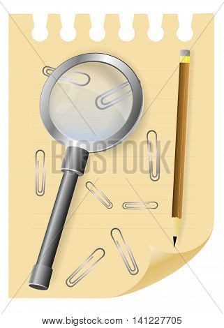 Magnifying  glass lens or magnifier loupe on a sheet of notepad with paper clips and pencil.