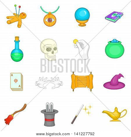 Cartoon magic icons set. Universal magic icons to use for web and mobile UI, set of basic magic elements isolated vector illustration