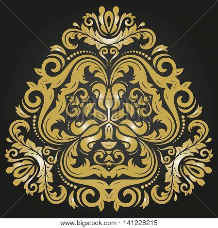 Oriental vector triangular pattern with arabesques and floral elements. Traditional classic ornament. Black and golden pattern