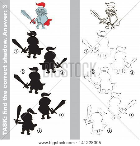 The boy toy Knight with different shadows to find the correct one. Compare and connect object with it true shadow. Visual game for children.