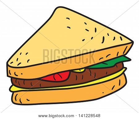 Vector illustration of a sliced sandwich in black and white outlined doodle style