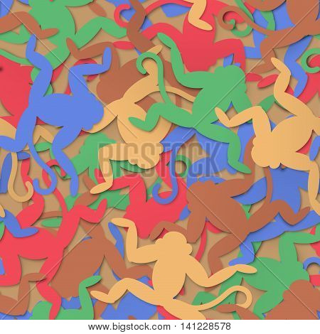 Multi-colored paper monkeys seamless background vector texture