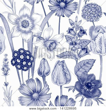 Seamless pattern. Design for fabrics textiles paper wallpaper. Flowers daffodils tulips bluebells primroses cosmos lavender. Vintage. Vector.