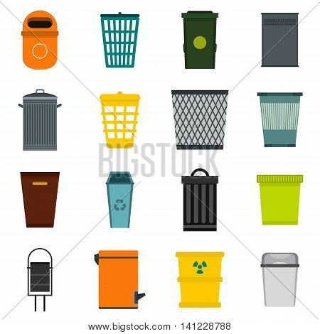 Flat trash can icons set. Universal trash can icons to use for web and mobile UI, set of basic trash can elements isolated vector illustration