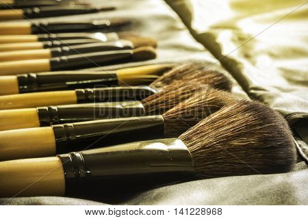 Close Up of makeup brush in black slot holder