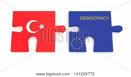Turkey EU Crisis: Turkish Flag And EU Flag Democracy Puzzle Pieces 3d illustration