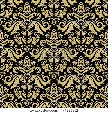 Seamless damask vector pattern. Traditional classic orient ornament. Black and golden pattern